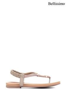 Bellissimo Gold Ladies Diamanté Toe Post Sandals
