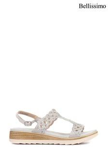 Bellissimo Silver Ladies Toe Post Sandals
