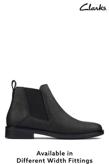 Clarks Black Leather Memi Top Boots