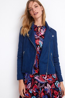 Dark Blue Soft Denim Biker Jacket