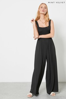 Mint Velvet Khaki Wide Leg Jersey Jumpsuit