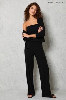 Mint Velvet Black Ribbed Wide Leg Trousers