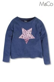 M&Co Blue Leopard Heart Long Sleeve Top