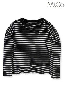 M&Co Black Stripe Long Sleeve Top