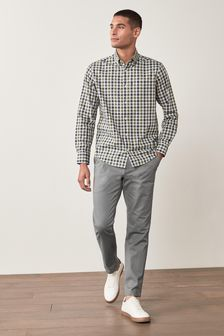 Light Grey Slim Fit Stretch Chino Trousers