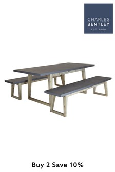 Fibre Cement And Wood Dining Set Including Table 2 Benches By Charles Bentley