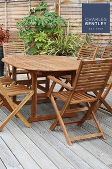 FSC Acacia Hardwood Dining Set with Extendable Table including 6 Chairs By Charles Bentley