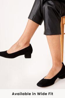 Black Suede Leather Low Block Heel Shoes