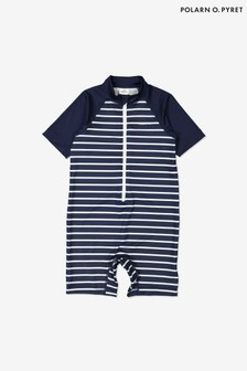 Polarn O. Pyret Blue Recycled Polyester Striped Sunsafe Swimsuit