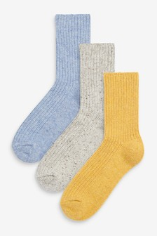 Blue/Yellow Wool Blend Ribbed Ankle Socks 3 Pack