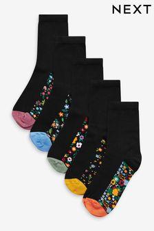 Floral Patterned Footbed Ankle Socks 5 Pack