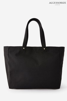 Accessorize Black Canvas Shopper Bag