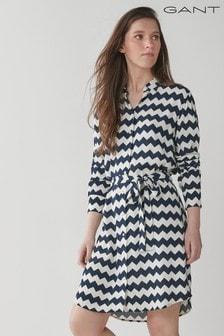 GANT Blue Zig Zag Print Shirt Dress