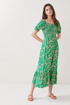 Printed Shirred Midi Dress