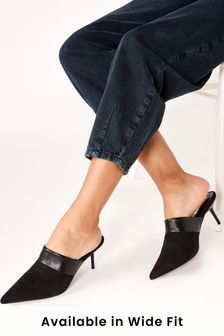 Black Closed Toe Pointed Mules