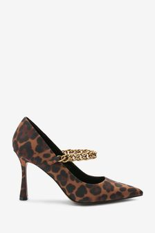 Brown Leopard Print Chain Pointed Court Shoes
