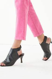 Black Signature Leather Ruched Shoe Boots