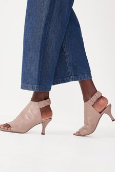 Taupe Signature Leather Ruched Shoe Boots