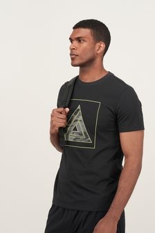 Black Neon Camo Graphic Short Sleeve Tee Next Active Gym Tops & T-Shirts