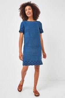 Blue TENCEL™ Cutwork Detail Dress