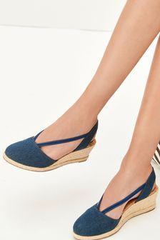 Denim Closed Toe Espadrille Low Wedge Sandals