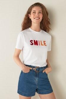 White Textured Slogan T-Shirt