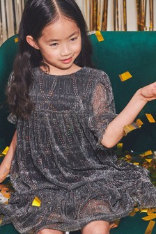 Silver Sparkle Tiered Party Dress (3-16yrs)