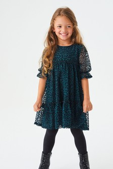 Green/Black Animal Tiered Party Dress (3-16yrs)