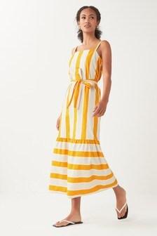 Yellow/Ecru Stripe Midi Dress