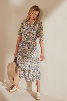 Ecru Floral Tiered Midi Dress