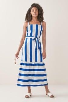 Cobalt/White Stripe Midi Dress
