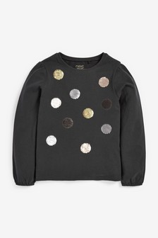 Charcoal Grey Sequin Spot Top (9mths-7yrs)