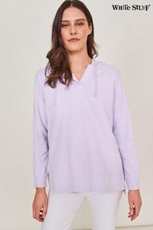 White Stuff Purple Cotton Hooded Sweat Top