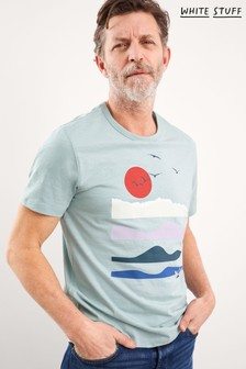 White Stuff Blue Solarwave Organic Cotton Graphic T-Shirt