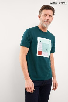 White Stuff Teal Cube Organic Cotton Graphic T-Shirt