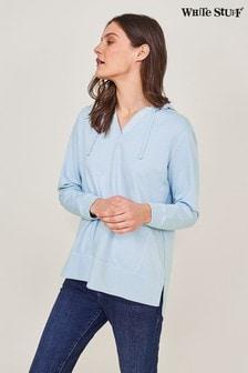 White Stuff Blue Cotton Hooded Sweat Top