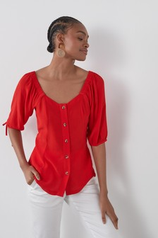 Red Tie Sleeve Square Neck Top