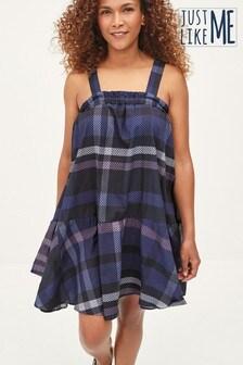 Blue Check Trapeze Dress