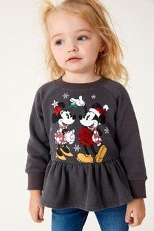 Charcoal Grey Minnie & Mickey Christmas Sweatshirt (3mths-7yrs)