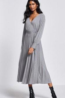 Grey Pleated Wrap Dress