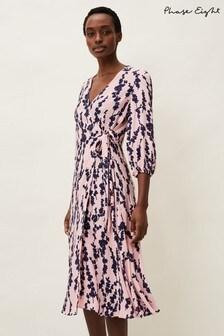 Phase Eight Pink Jean Floral Midi Wrap Dress