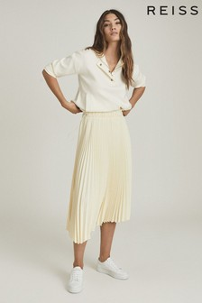 Reiss Yellow Molly Pleated Midi Skirt
