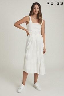 Reiss White Lottie Pleated Midi Skirt