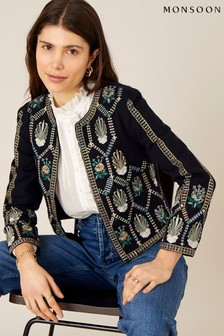 Monsoon Organic Cotton Embroidered Cropped Jacket