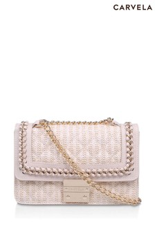 Carvela Cream Bailey Quilted Chain Shoulder Bag