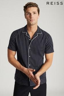 REISS Atwell Striped Cuban Collar Shirt