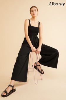 Albaray Black Shirred Wide Leg Jumpsuit
