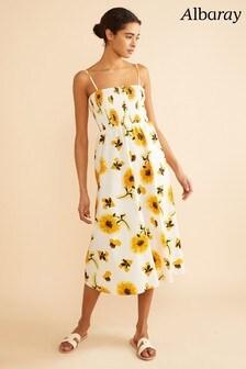 Albaray White Sunflower Shirred Dress