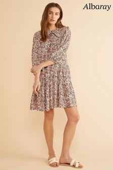 Albaray Pink Ditsy Daisy Short Swing Ruffle Collar Dress
