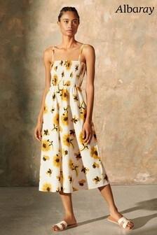 Albaray White Sunflower Tiered Dress